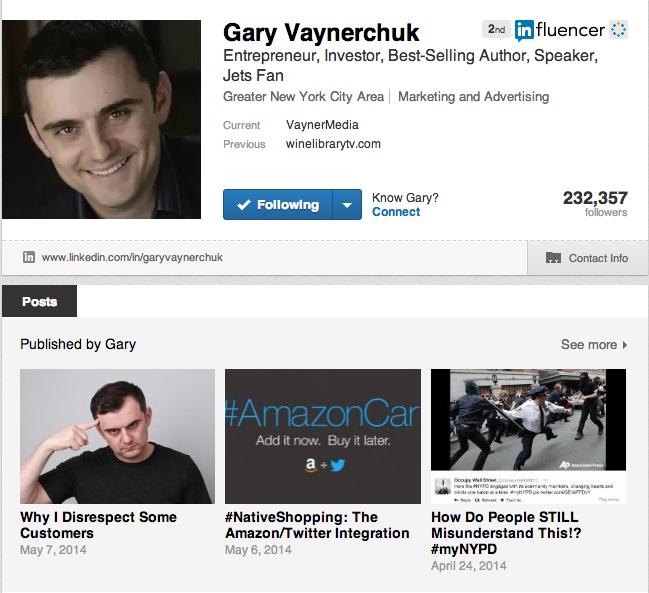 I LOVE to follow Gary V on LinkedIn!