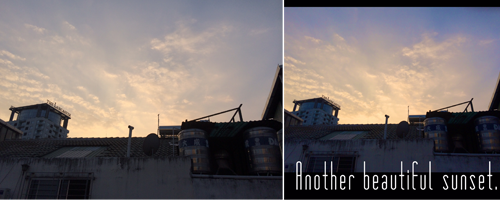 A Vietnamese before and after sunset with Phonto.