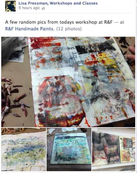 Artist, Lisa Pressman shares workshop pictures on her page.