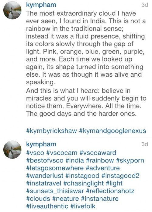 Although she adds 2 hashtags at the end, the majority are left for comment #1.