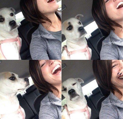 Mari's dog doesn't like her singing. LOL.