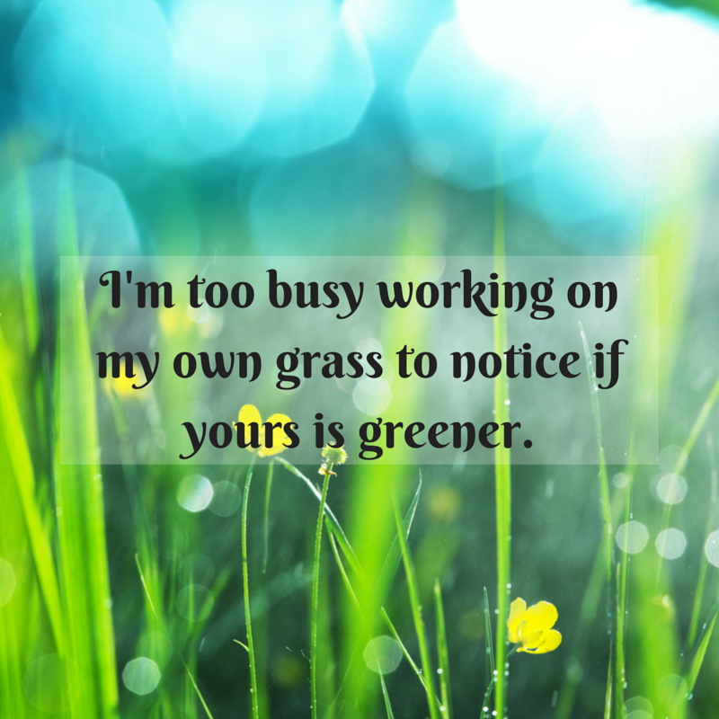 I'm too busy working on my own grass to